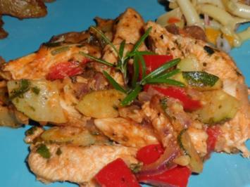 Mediterrane Pesto-Hähnchen-Pfanne mit Paprika und Zucchini - Rezept
