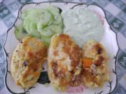 Vegan : Gemüsebratlinge mit Avocado - Joghurt - Dip und Gurkensalat - Rezept