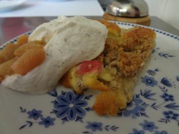 Rhabarberkuchen mit Quarkcreme und Streuseln - Rezept