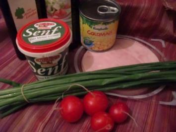 Radieschensalat mit Schinken und Mais - Rezept