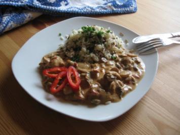 Hähnchenstreifen mit Champignons in Kokosmilch - Rezept