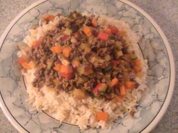 Hackfleisch-Gemüse-Pfanne mit Reis - Rezept