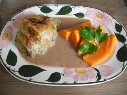 Vegan : Kohlrouladen mit Füllung an Kastaniensoße - Rezept