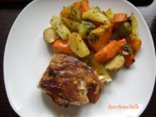Herbstliches Ofengemüse mit gebratenem Fisch - Rezept