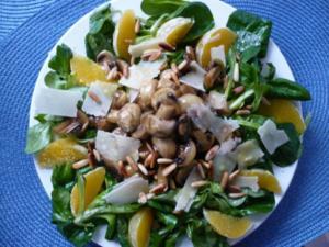 Feldsalat mit Honig - Chamignons - Rezept