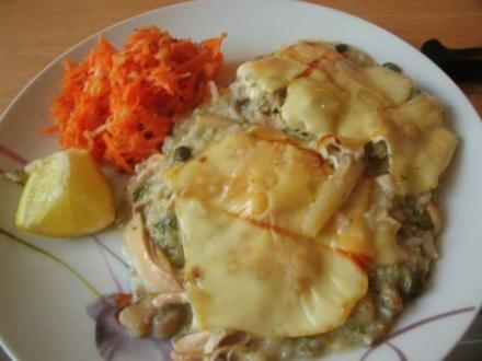 Hühnertopf mit Möhren und Porree überbacken - Rezept