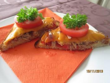 Thunfischtoast mit Tomate und Käse - Rezept
