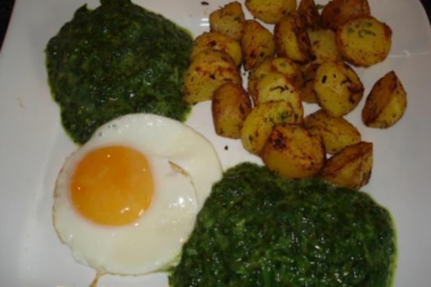 Spiegeleier mit Spinat und Bratkartoffel - Rezept