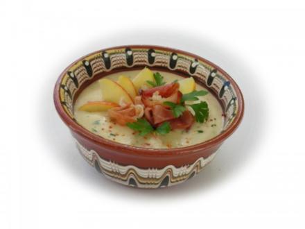 Maroni-Kartoffelsuppe mit Schinkenspeck - Rezept