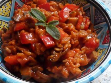 Pfannengerichte: Mediterrane Champignon-Tomatenreis-Pfanne - Rezept