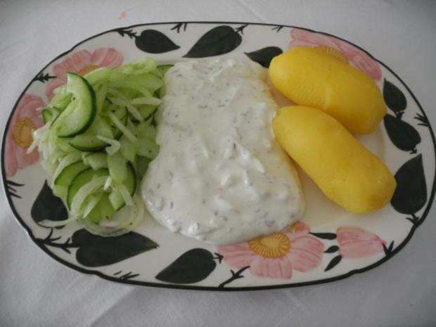 Vegetarisch : Pellkartoffeln - Zwiebelquark - Gurkensalat - Rezept