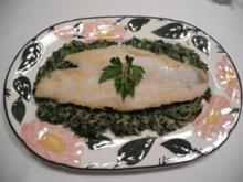 Fisch : ...an buntem Reis mit Rahmspinat - Rezept