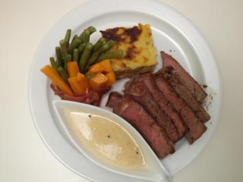 Rezept: Entrecôte Double am Karotten-Bohnen-Wäldchen mit Kartoffelbaumkuchen