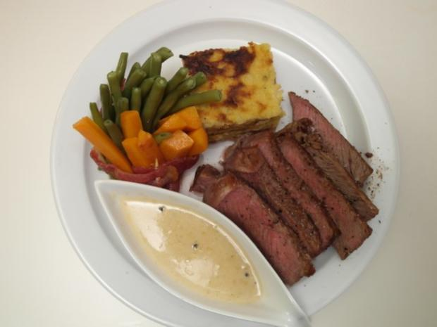 Entrecôte Double am Karotten-Bohnen-Wäldchen mit Kartoffelbaumkuchen - Rezept