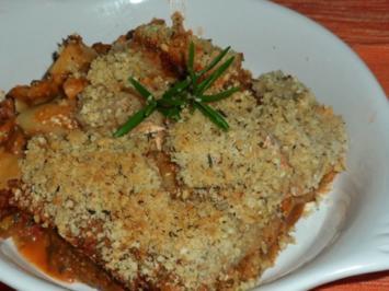 Würzige Gorgonzola-Spinat-Lasagne mit Pecorino-Nuss-Kruste - Rezept