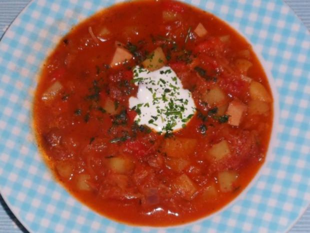 Eintöpfe/Suppen: Deftiger Kartoffel-Sauerkraut-Eintopf mit Paprika und Cabanossi - Rezept - Bild Nr. 14