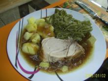 Schwein: Würziger Rollbraten mit grünen Bohnen - Rezept