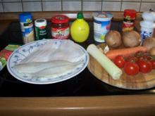 Schollenfilet mit Tomaten-Lauch-Champignon-Möhrengemüse - Rezept
