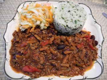 Vegan : Chilli con carne .... mal so ... dazu Reis und Salat - Rezept
