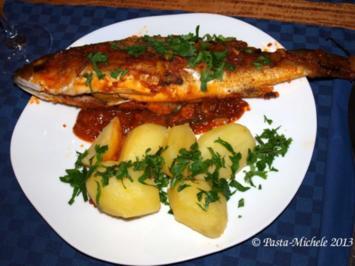 Wolfsbarsch aus dem Ofen    (Branzino al forno) - Rezept