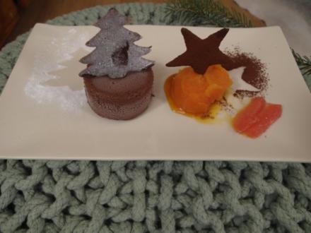 Orangen-Safran-Sorbet mit Soufflé-Glace von der Valrhona-Schokolade - Rezept