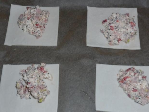 Abendessen/Snack: Blätterteigtaschen mit pikanter Feta-Paprika-Füllung - Rezept - Bild Nr. 4
