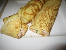 Pfannkuchen mit Lachs-Garnelen-Füllung - Rezept