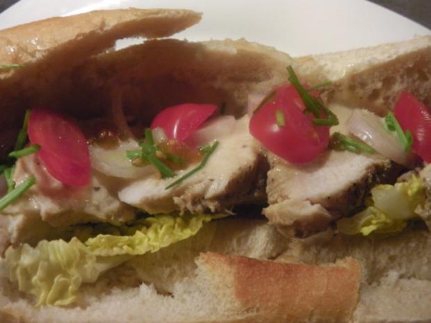 Estragon-Senfhühnchen im Sandwich mit Sweet Onion Sauce - Rezept - Bild Nr. 3