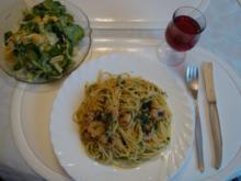 Knoblauch- Spaghetti mit Chili und Garnelen - Rezept