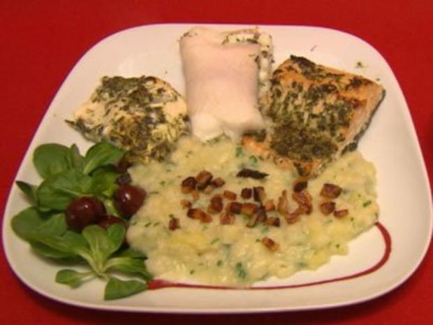 Usedomer Fischtüften mit dreierlei gegrilltem Ostseefisch und Gurkensalat - Rezept