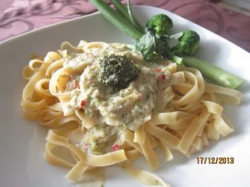 Tagliatelle mit Frischkäse-Brokkoli -Sause - Rezept