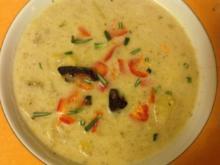 Kartoffel - Birnensuppe mit Sekt und Birnen - Gemüse Croûtons - Rezept