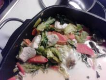 Wirsingpfanne mit Hähnbrust, Kokosmilch, Ingwer und Kaffernlimettenblättern - Rezept