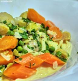 Spaghetti mit einer Gemüse-Käse-Sauce - Rezept
