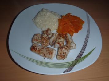 Rezept: Hühnerstreifen mit Risotto und Karottennudeln