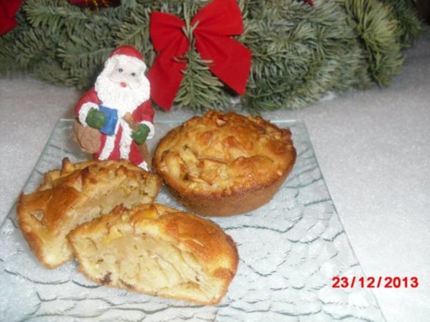 winterliche Muffin mit Bratapfelstücken - Rezept
