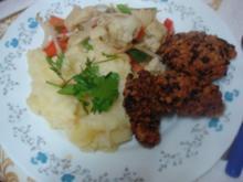Hähnchennuggets mit Sellerie-Kartoffelstampf und Wok-Gemüse - Rezept