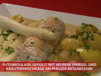 Putenroulade mit weißem Spargel & Kräuterfrischkäse an Pfälzer Rieslingsoße & Kartoffeln - Rezept