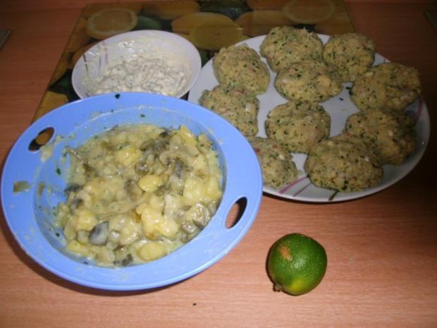 Fischfrikadellen mit Kartoffelsalat und Remouladensoße-unser Essen am Heiligen Abend - Rezept - Bild Nr. 2