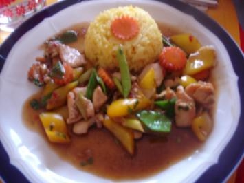 Hähnchen-Wok mit gelben Reis - Rezept