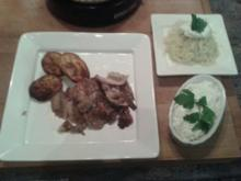Gyros am Spiess, mit Krautsalat und Zatziki und Ofenkartoffeln - Rezept