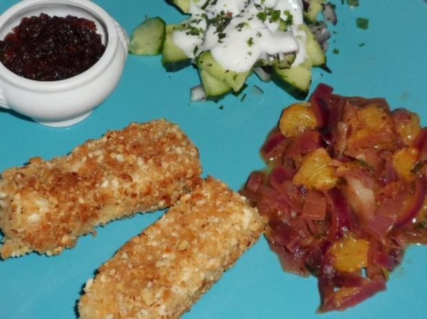 Knusper-Feta in Nusspanade mit süß-saurer Zwiebel-Orangen-Beilage - Rezept - Bild Nr. 14