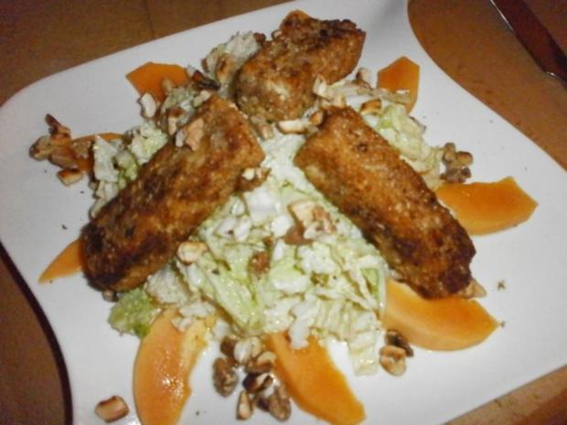 Knusper-Feta in Nusspanade mit süß-saurer Zwiebel-Orangen-Beilage - Rezept - Bild Nr. 2