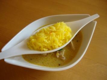 Asiatisches Hähnchenragout mit Safran Reis - Rezept