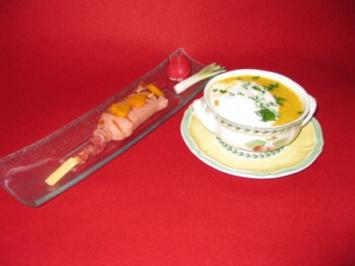 Kartoffel-Karottensuppe mit Lyoner-Spieß - Rezept