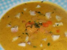Suppen/Vorspeise: Feine Karotten-Rüben-Suppe mit Forellenfilet - Rezept