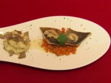"Seeforelle ""Müllerinnen"", Mandelnussbutter, Karottenbett & Kartoffel-Sellerie-Stampf - Rezept"