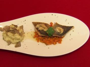 "Rezept: Seeforelle ""Müllerinnen"", Mandelnussbutter, Karottenbett & Kartoffel-Sellerie-Stampf"