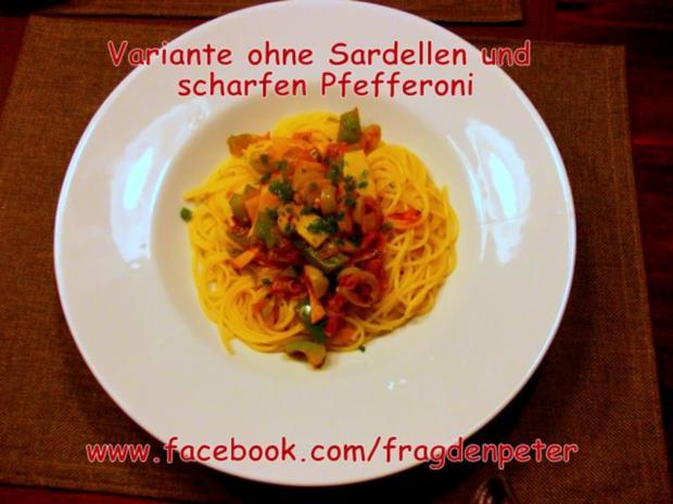Feurige Sardellen-Pfefferoni  Spaghetti mit Paprika-Olivensoße - Rezept - Bild Nr. 11