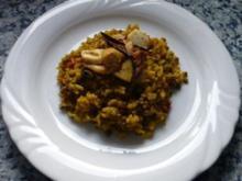 Reis mit Linsen und Pilzen,dazu Kaninchenkeulen - Rezept